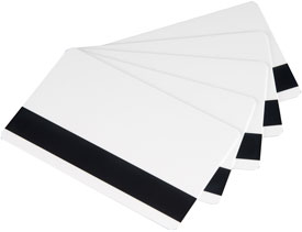 104523-112 Zebra white PVC cards, 30 mil low coercivity magnetic stripe (500 cards)