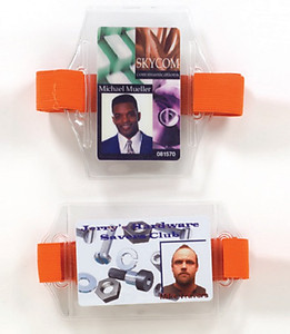 Clear Vinyl Arm Band Badge Holder (strap sold separately) - 100 per pack