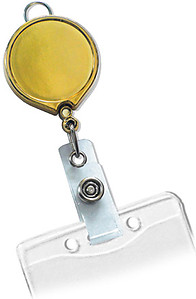 Gold Metallic Badge Reel with Clear Vinyl Strap & Belt Clip