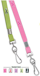 Lanyard, silk screened awareness ribbon imprint, swivel hook, 3/8
