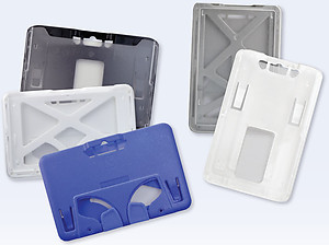 3-Card B-Holder ABS/Polycarbonate Rigid Plastic Holder, pack/50