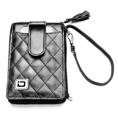 RFID Blocking Secure Wristlet for Phone and Cards, Black Leather