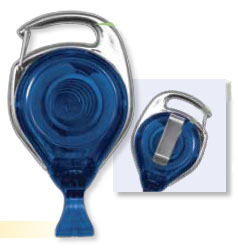 Carabiner-style badge reel - Chrome outer frame - Belt Clip - No-Twist