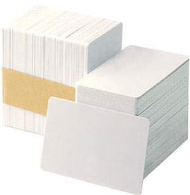 104523-117 Zebra white PVC cards, 15 mil with writeable back (500 cards)