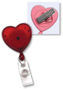 Heart-Shaped Badge Reel - Swivel Back - Clear Vinyl Strap