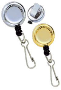Round Key Reel - Spring Clip - Chrome - Steel Swivel Hook