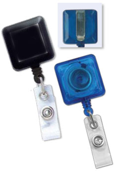 Square Badge Reels -  Clear Vinyl Strap
