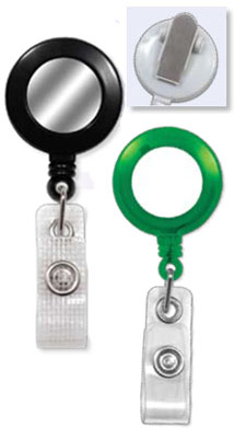 Round Badge Reels with Sticker (White or Silver) - Belt Clip - Clear Vinyl or Reinforced Vinyl